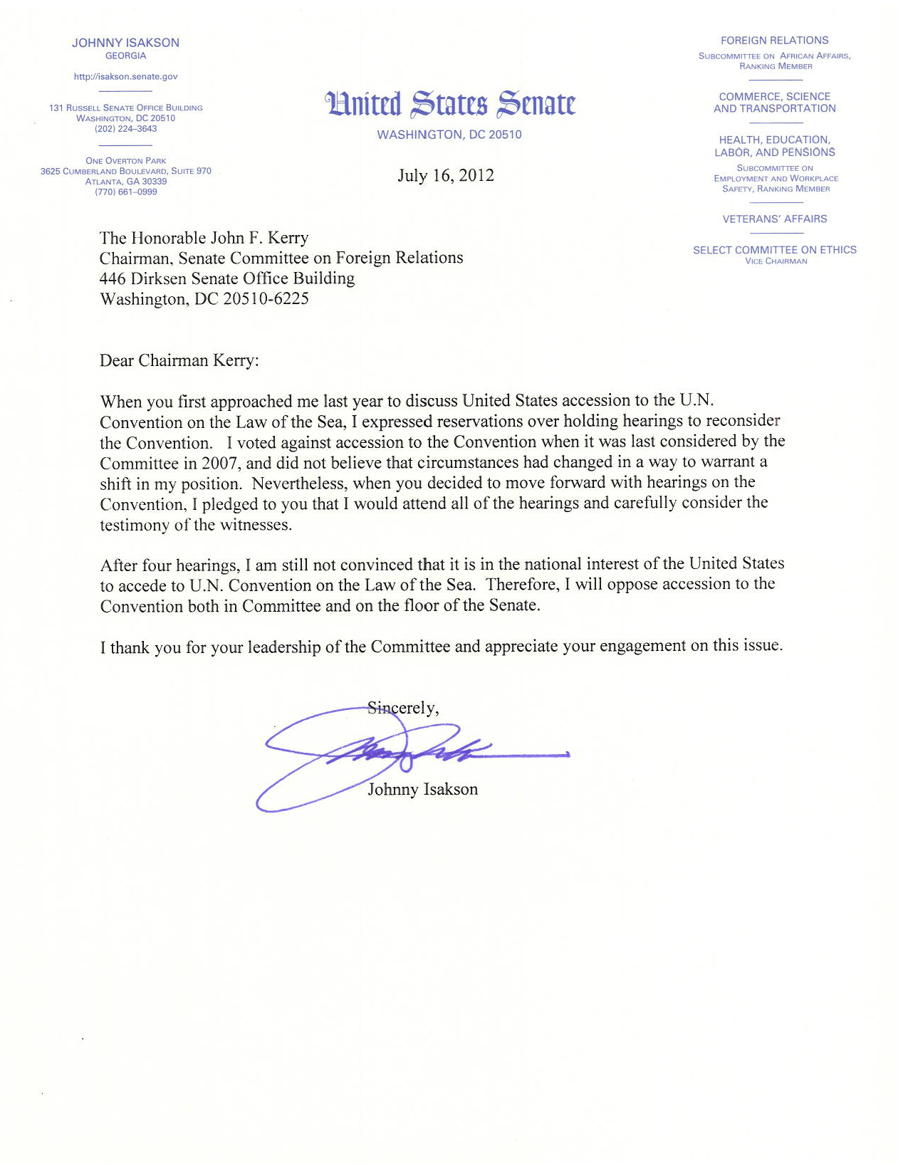 Law of the Sea Letter from Isakson to Kerry