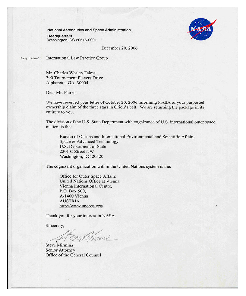 Response from NASA General Counsel